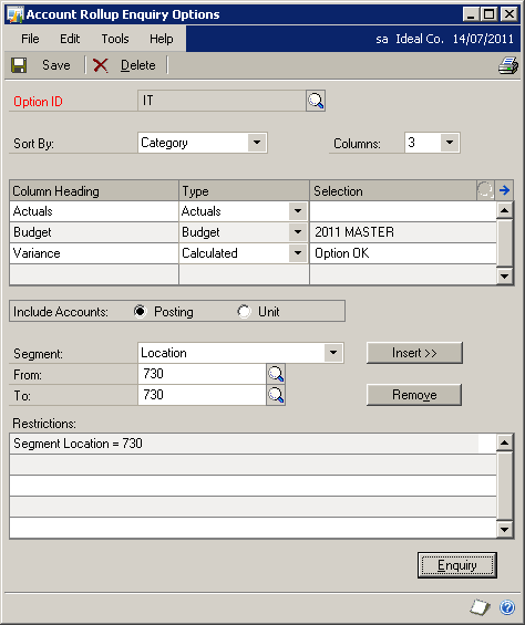 Account Rollup Enquiry Options