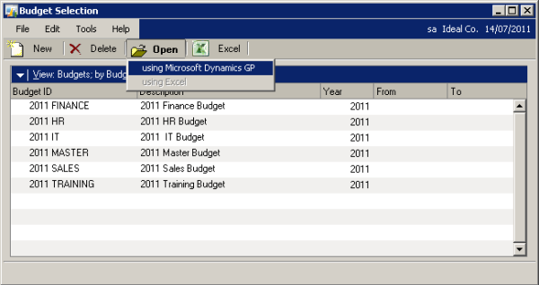 Budget Selection - Open Using Microsoft Dynamics GP