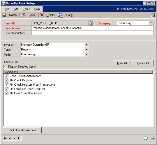 Security Operation: RPT_PURCH_003* - Payables Management check information