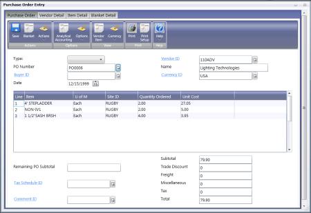 Web Client - PO Entry