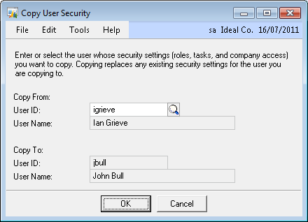 Copy User Security