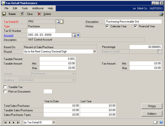 Tax Detail Maintenance