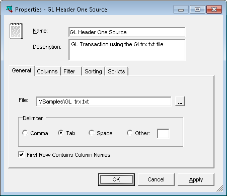 Properties - GL Header One Source
