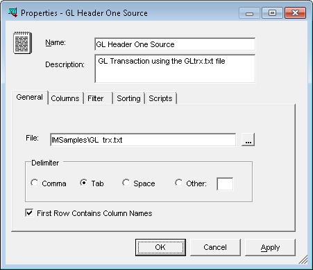 Properties - GL Header One Source