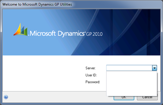 Microsoft Dynamics GP 2010 Utilities - No Data Source