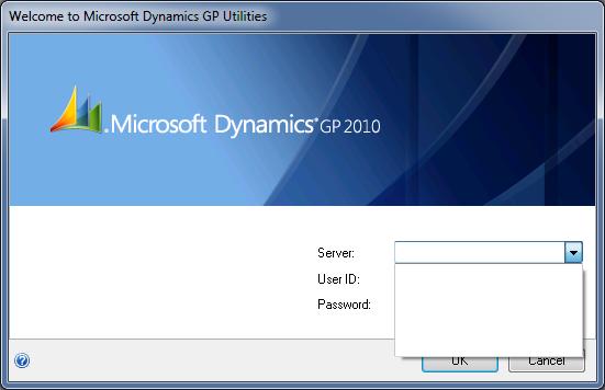 Microsoft Dynamics GP 2010 Utilities - No Data Source