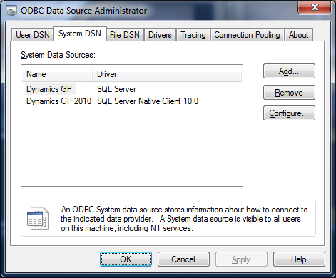 Microsoft Dynamics GP 2010 Utilities - New Data Source