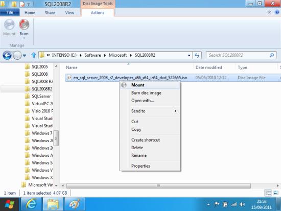 Windows 8 Developer Preview - Mount ISO