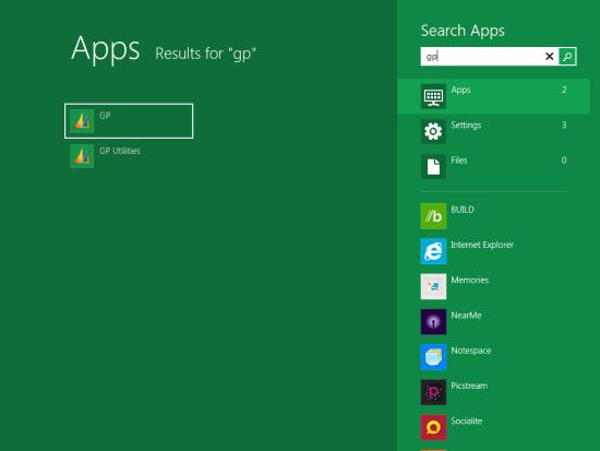 Windows 8 Developer Preview - Microsoft Dynamics GP 2010 R2 in Metro App Search