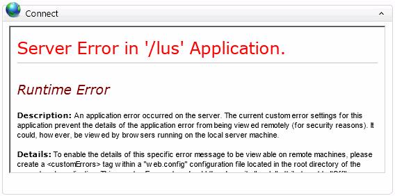 Home Screen Connect Error - Server Error in '/lus' Application.'
