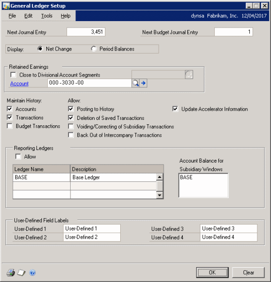 Reporting Ledgers: Enabling via General Ledger Setup