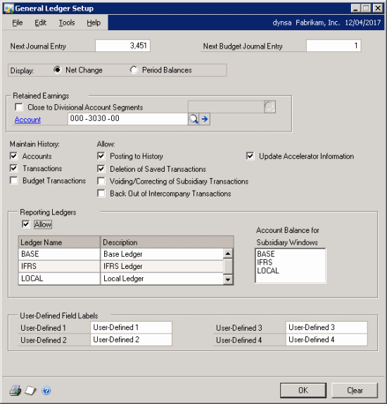 Reporting Ledgers: Enabled In General Ledger Setup