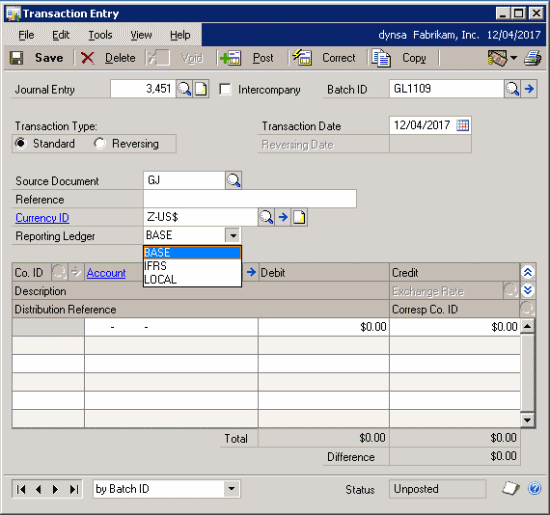 Reporting Ledgers: General Ledger Transaction Entry