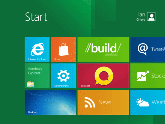 Windows 8 Developer Preview - Metro Home Screen