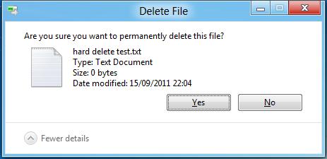 Windows 8 Developer Preview - Hard Delete File