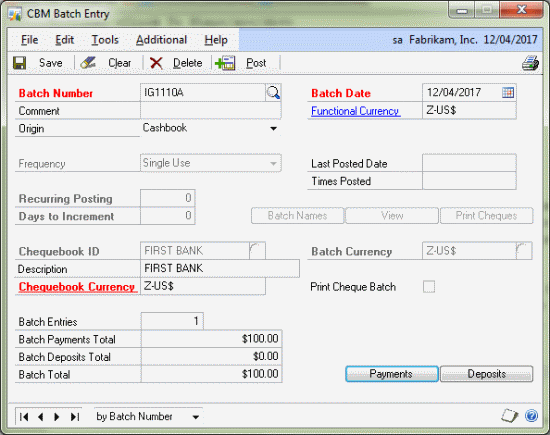 Cashbook Bank Management - CBM Batch Entry