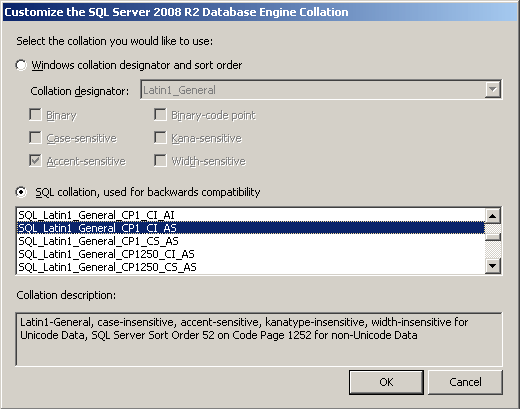 Customize the SQL Server 2008 R2 Database Engine Collation.
