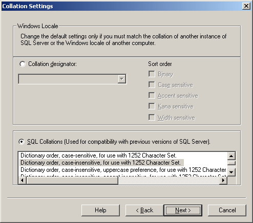 SQL Server 2000 - Collation Settings