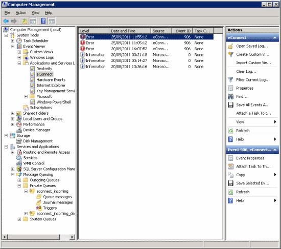 Computer Management - Event Viewer