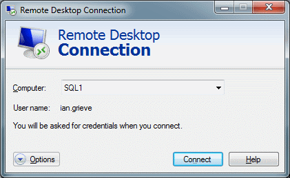 Remote Desktop Connection - Enter Machine Name