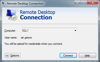 Remote Desktop Connection - Enter Machine Name
