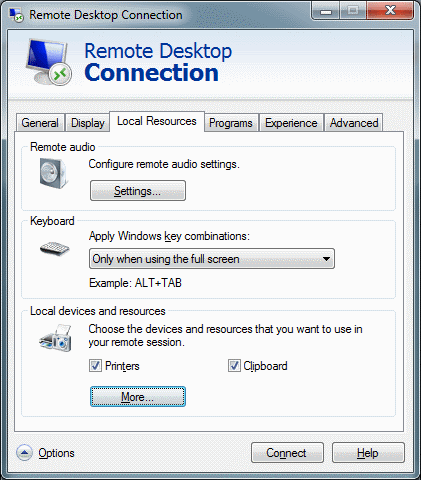 Remote Desktop Connection - Local Resource Tab