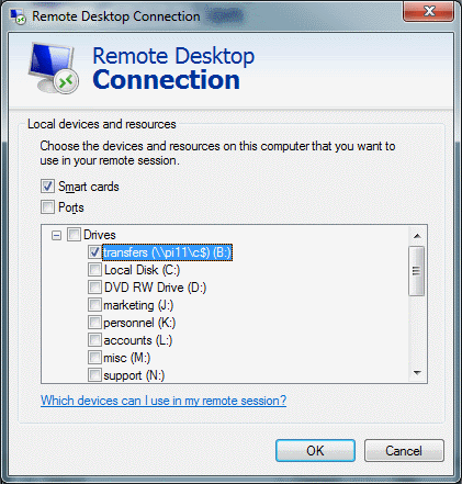 Remote Desktop Connection - Local devices and resources