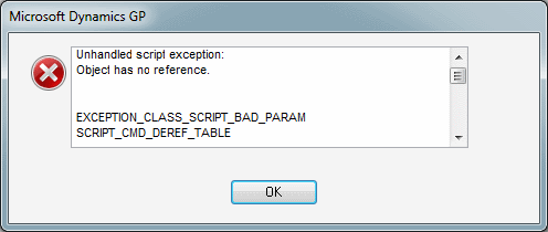 Unhandled script exception: Object has no reference. EXCEPTION_CLASS_SCRIPT_BAD_PARAM SCRIPT_CMD_DEREF_TABLE