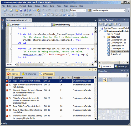 Visual Studio Tools For Microsoft Dynamics GP - Build Error