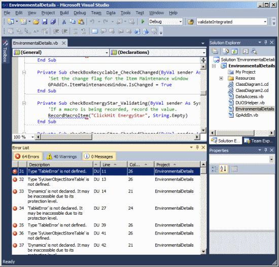 Visual Studio Tools For Microsoft Dynamics GP - Build Error