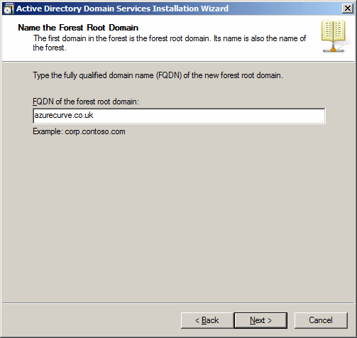 Active Directory Domain Services Installation Wizard - Name the Forest Root Domain