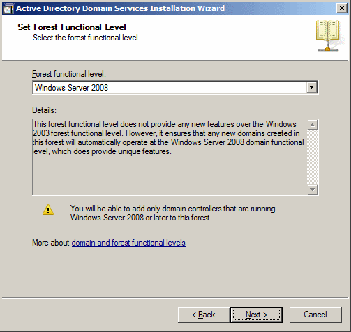 Active Directory Domain Services Installation Wizard -  Set Forest Functional Name