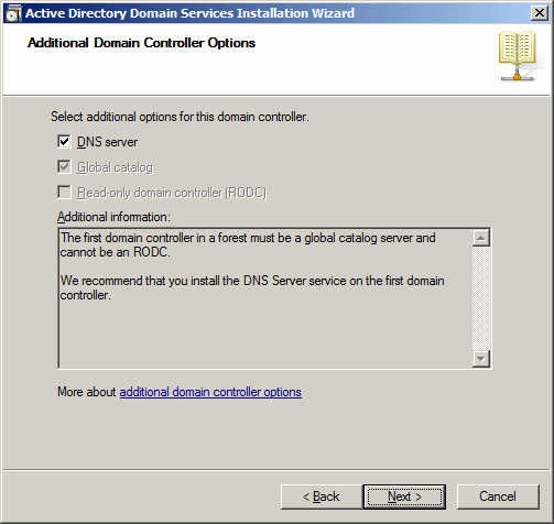 Active Directory Domain Services Installation Wizard - Additional Domain Controller Options