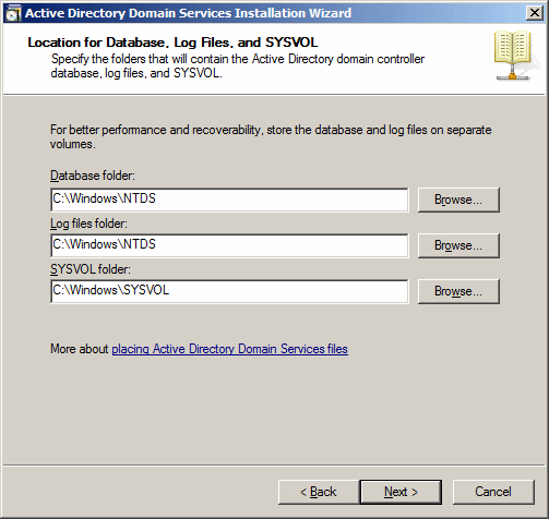 Active Directory Domain Services Installation Wizard - Location for Database, Log Files, and SYSVOL