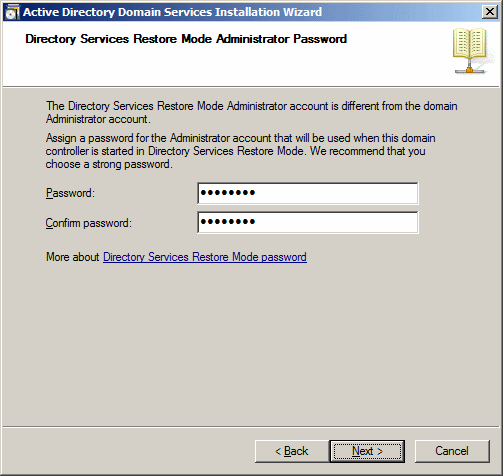 Active Directory Domain Services Installation Wizard - Directory Services Restore Mode Administrator Password