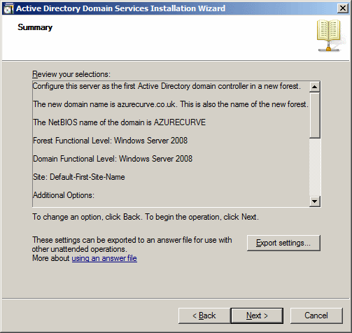 Active Directory Domain Services Installation Wizard - Summary