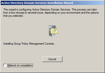 Active Directory Domain Services Installation Wizard - Configuration Processes
