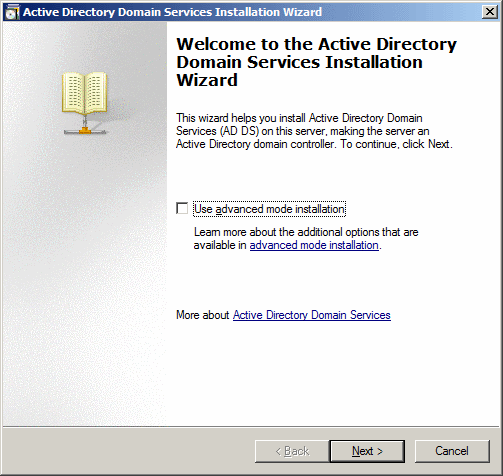 Welcome to the Active Directory Domain Services Installation Wizard