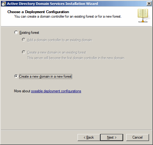 Active Directory Domain Services Installation Wizard - Choose A Deployment Configuration