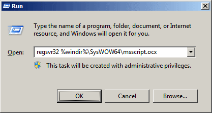 Run Command - regsvr32 %windir%\SysWOW64\msscript.ocx
