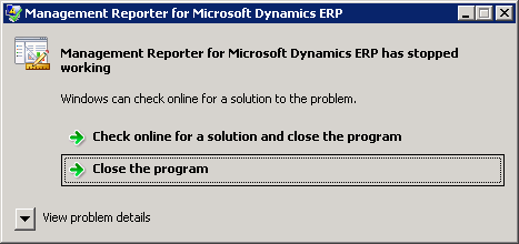 Management Reporter for Microsoft Dynamics ERP has stopped working