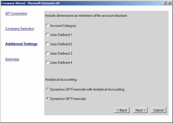 Company Wizard - Microsoft Dynamics GP - Additional Settings
