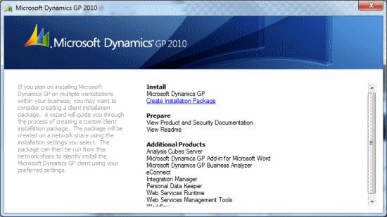 Microsoft Dynamics GP setup