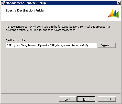 Management Reporter Setup - Specify Destination Folder