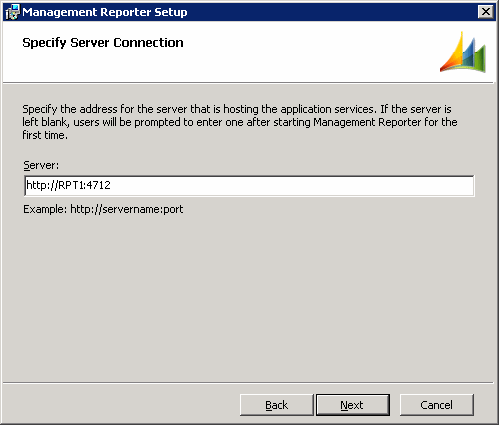 Management Reporter Setup - Specify Server Connection