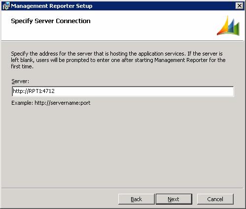 Management Reporter Setup - Specify Server Connection