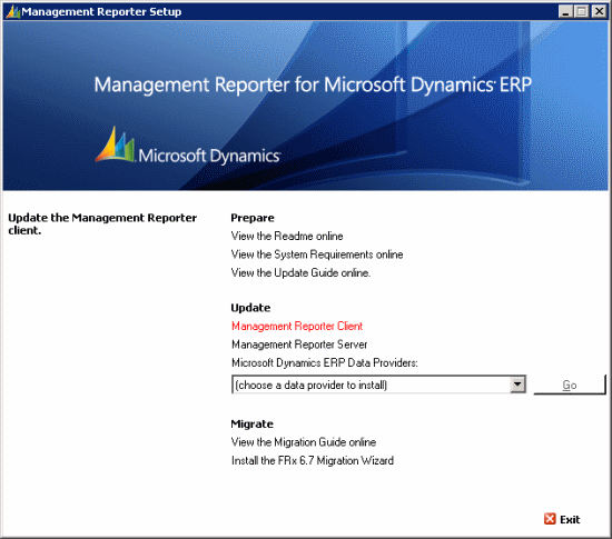 Management Reporter for Microsoft Dynamuics ERP Setup