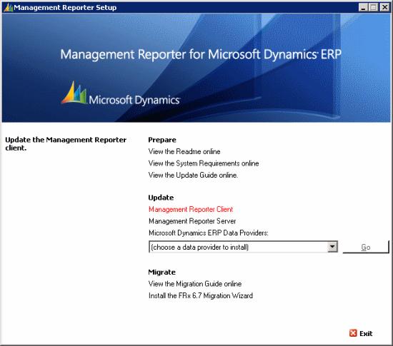 Management Reporter for Microsoft Dynamuics ERP Setup