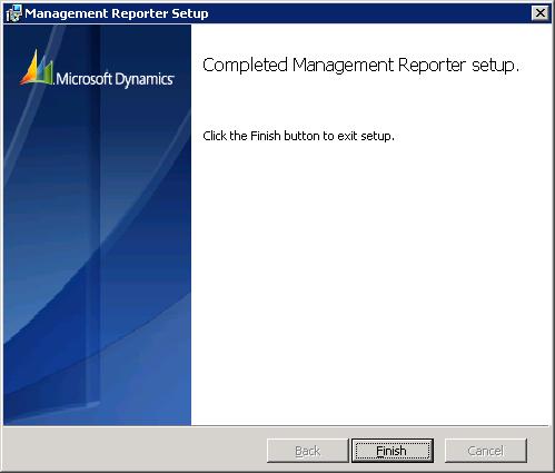 Management Reporter Setup - Completed Management Reporter Server