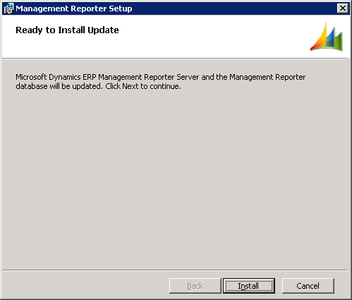 Management Reporter Setup - Ready to Install Update